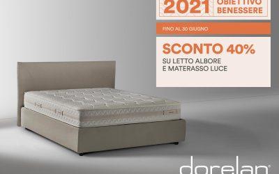 Dorelan Promo 40% su Letto Albore e Materasso Luce